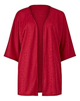 Red Jersey Jacquard Kimono