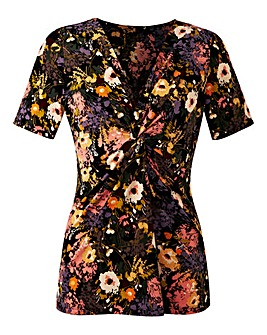 Floral Print Twist Knot Jersey Top