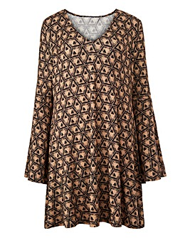 Camel Print Bell Sleeve Tunic