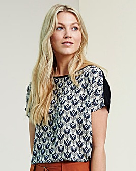 Lilac Print Woven Front Jersey Top