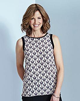 Lilac Print Woven Front Vest