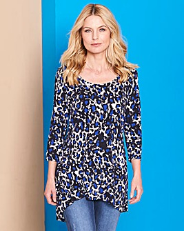 Cobalt Animal Print Dip Back Jersey Top