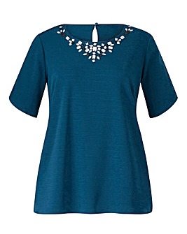 Teall Embellished Jersey Shell Top