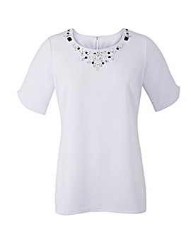 White Embellished Jersey Shell Top