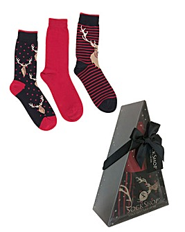 Sockshop Pack of 3 Stag Socks Box