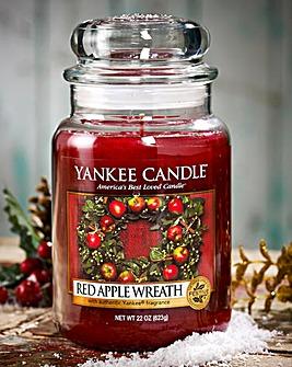 Yankee Red Apple Wreath Large Candle Jar