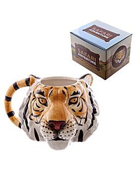 Novelty Tiger Head Shaped Ceramic Mug