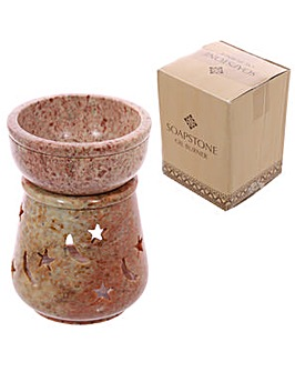 Soapstone Oil Burner Pale Stars and Moon