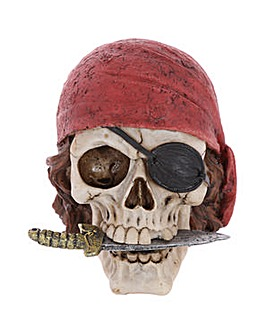 Gothic Pirate Skull with Head Scarf