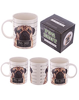 New Bone China Mug Cute Pug Shot Design