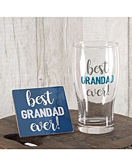 Grandad Glass and Coaster Set