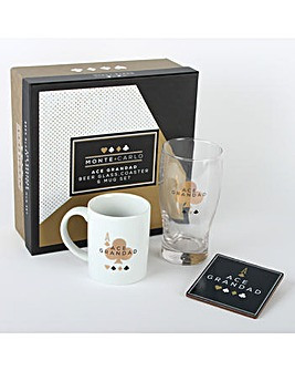 Grandad Mug, Glass and Coaster Gift Set