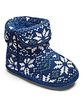 Fairisle Knit Boot Slippers