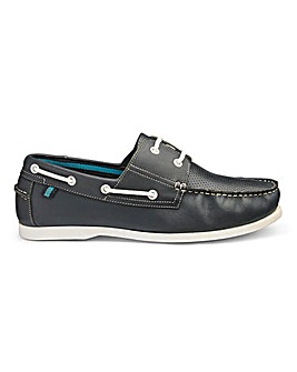 Leather Punched Detail Boat Shoe Wide