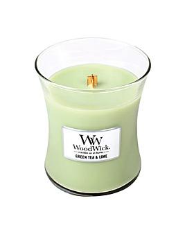 Woodwick - Green Tea & Lime     Med