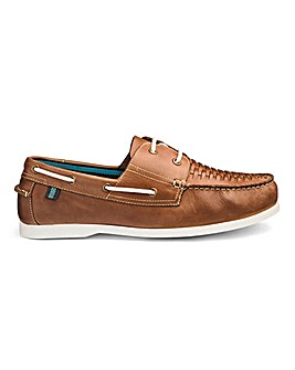 Leather Interweave Boat Shoe Wide Fit