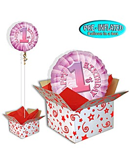 Happy 1st Birthday Pink Balloon In A Box