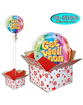 "Get Well Soon 18"" Foil Balloon In A Box"