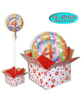 Happy 4th Birthday Foil Balloon In A Box