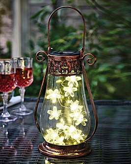 Copper Finish Solar Flower Lantern