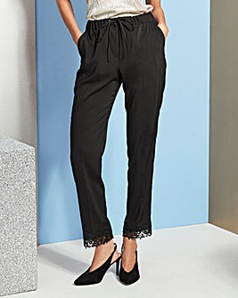 Lace Hem Tapered Trousers Reg