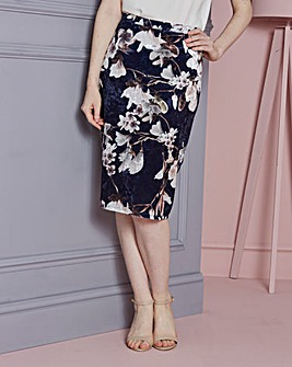 Floral Printed Stretch Velour Skirt
