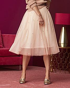 Pearl Trim Mesh Prom Skirt