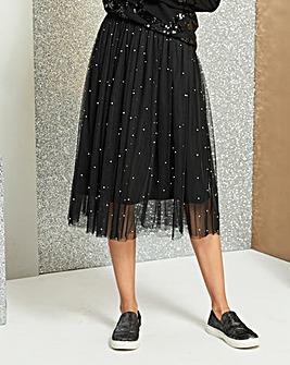 Silver Bead Trim Mesh Prom Skirt