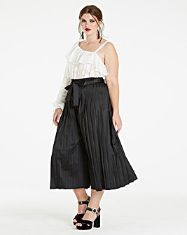 Pleated Satin Culottes
