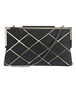 Faux Suede Quilted Clutch Bag
