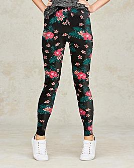 Tropical Floral Print Jersey Leggings
