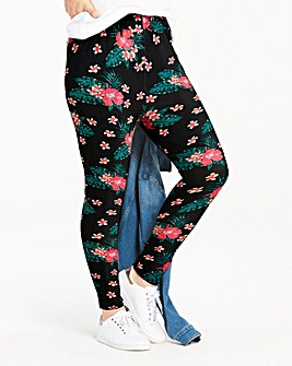 Tropical Floral Print Jersey Leggings
