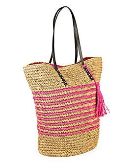 Striped Raffia Beach Bag