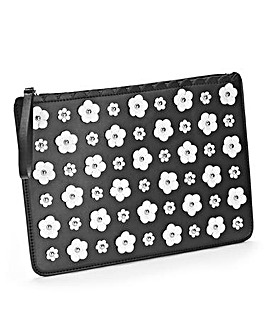 3D Flower Embellished Clutch Bag