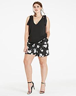 Floral Print Satin Shorts
