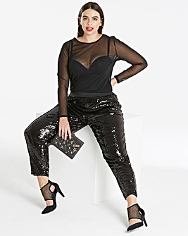 Sequinned Ankle Grazer Trousers Reg