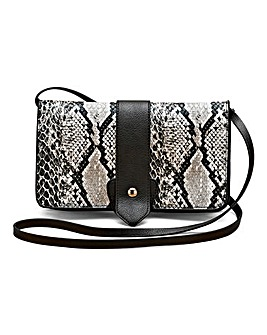 Snake Skin Print Multi Cross Body Bag