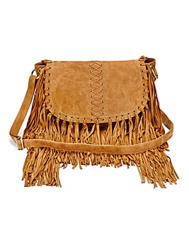 Suede Across Body Fringed Bag