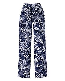 Petite Print Wide Leg Tie Waist Trousers