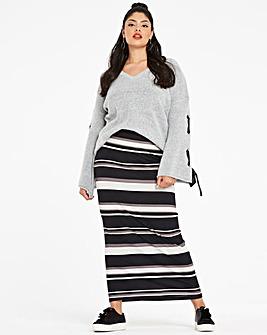 Stripe Stretch Jersey Maxi Tube Skirt