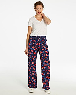 Floral Slouch Linen Mix Wide Trs Long