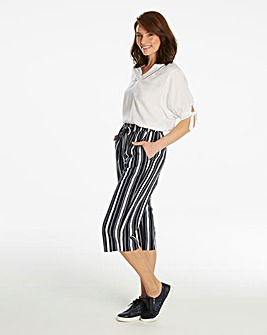 Petite Stripe Linen Mix Cropped Trousers