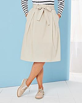 Paperbag Tie Waist Cotton Skirt