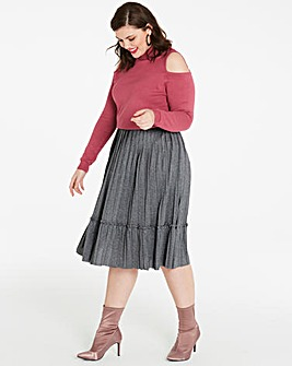 Pleat Ruffle Trim Midi Skirt