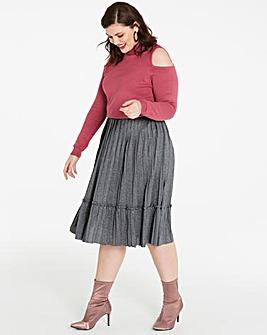 Pleat Ruffle Trim Midi Skirt