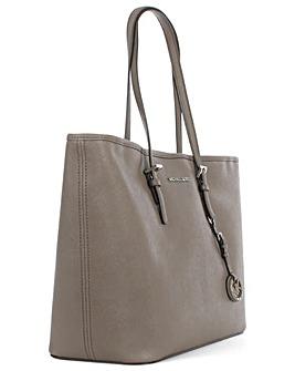 Michael Kors Grey Leather Top Zip Tote