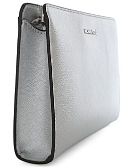 Michael Kors Silver Leather Clutch Bag