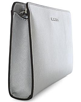 Michael Kors Silver Leather Clutch Bag
