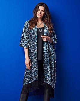Fringed Burnout Kimono