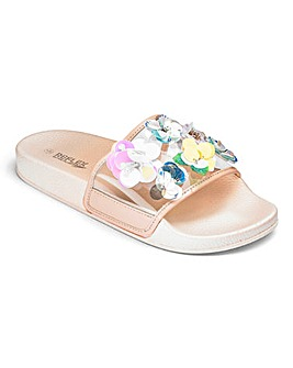 TKD Girls Embellished Flower Sliders